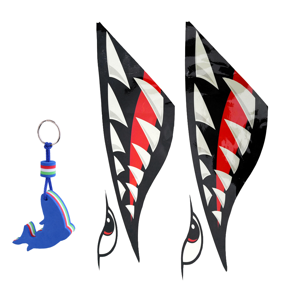 2x Shark Tooth Vinyl Decals Stickers Kayak Jet Ski + Blue Dolphin Shaped Floating Key Chain