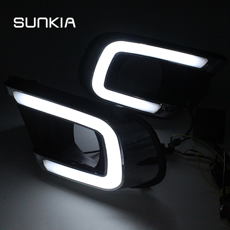 SUNKIA LED Car DRL Daytime Running Light with Fog Lamp Hole Turn Signal Style Relay For FIAT Freemont Dodge Journey 2014-2016 dongzhen car led drl daytime running light for hyundai santa fe 2010 2012 turn signal light with fog lamp hole relay waterproof