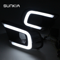 SUNKIA LED Car DRL Daytime Running Light with Fog Lamp Hole Turn Signal Style Relay For FIAT Freemont Dodge Journey 2014 2016