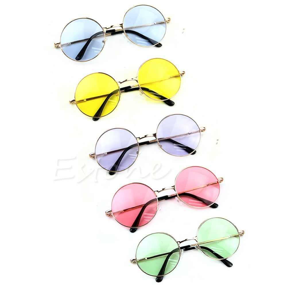 Women Colorful Lens Sunglasses Eyewear Plastic Frame Glasses Retro Round Glasses Blue/Yellow/Pink/Purple/Green