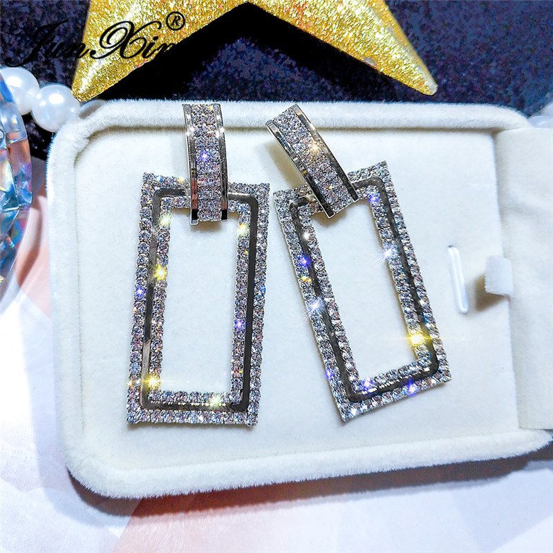 JUNXIN Punk Geometry Rectangle Drop Earrings White Gold Yellow Gold Color White Crystal Big Earrings For Women Wedding Jewelry