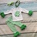 Meninas roupas de bebê meninas do St Patrick shamrock top outfits chervon babados calça combinando com colar e tiara