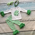 baby girls St Patrick clothing girls shamrock top outfits chervon ruffle pant with matching necklace and headband