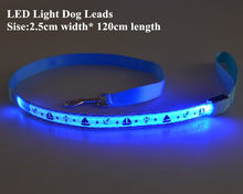 B08 Pet dog LED leahses leads pet traction rope pull strap for dogs cats 120cm length battery and USB Rechargeable(China)