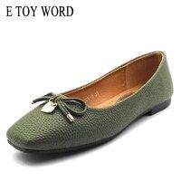 E لعبة كلمة جديدة براءة النساء الباليه الشقق أحذية جلدية شقة المرأة زائد الحجم 41 ساحة تو القوس أسود أخضر رمادي أحذية للنساء
