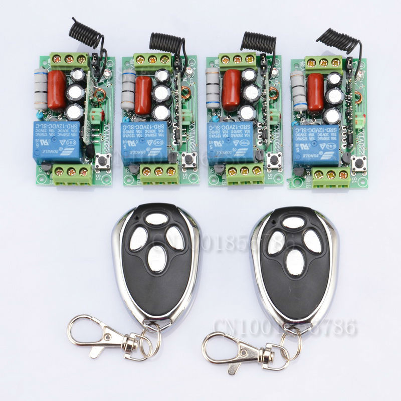 AC220V 1CH 10A Wireless Remote Control Relay Switch System RF 4 Receivers+2Transmitter For LED Light Lamp FreeShipping 24v 1ch rf wireless remote switch wireless light lamp led switch receiver