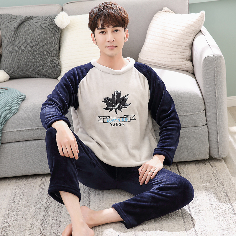 Autumn Winter Long Sleeve Warm Flannel Cartoon Pajama Sets Thick Men Sleepwear Coral