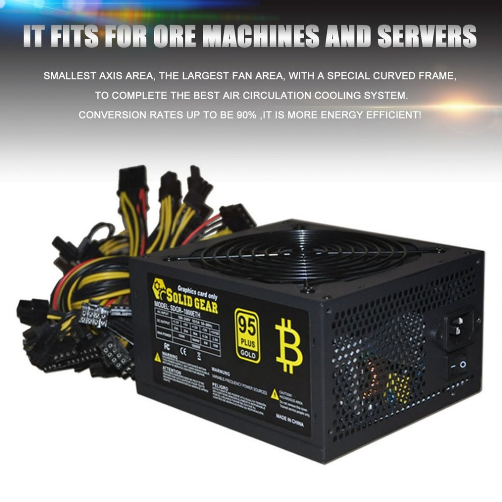 цена на 1800W Max Gold Mining Machine Power Supply Gold Miner Server Power High Efficiency Support Up To 6 GPU free shipping