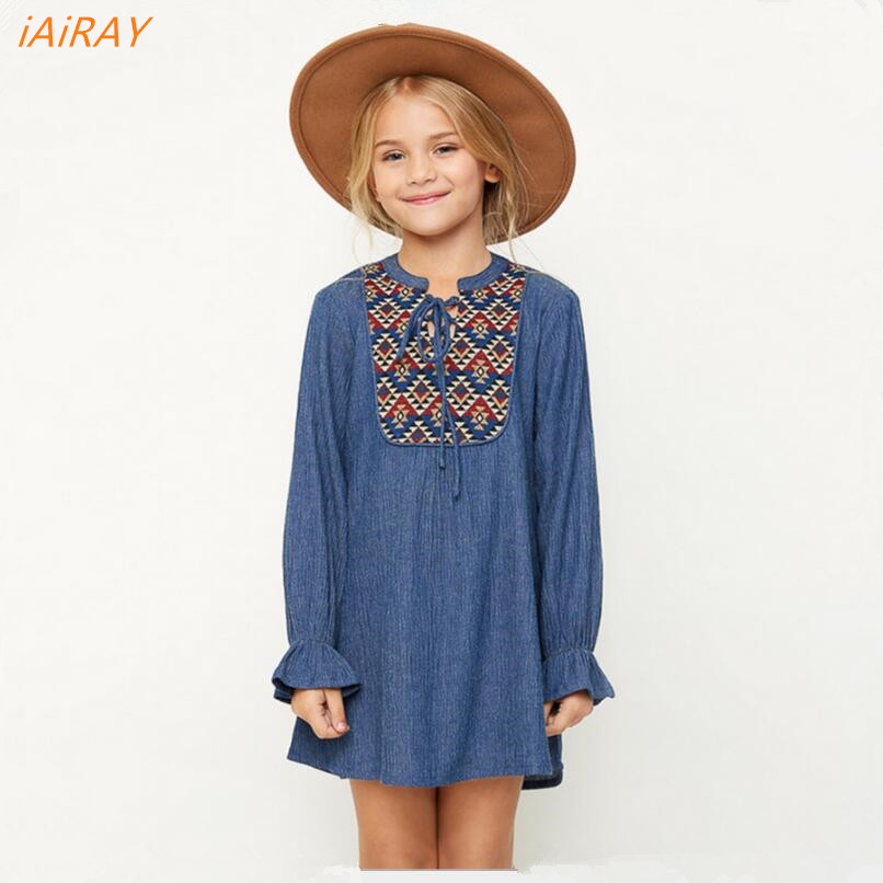 iAiRAY new 2017 spring blue long sleeve vintage dress casual loose teenage girls clothing summer style dresses for
