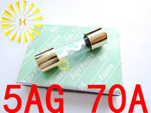FREE SHIPPING 10PCS x 5AG 70A Fuse 10*38mm Gold Plated AGU Fuses For Car Audio