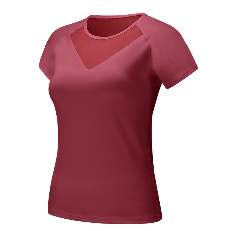 Women 39 s Workout Shirts Yoga Tops With Mesh Gym Clothes Running Exercise Sport T Shirts For Women Jogging Running Fitness Yoga in Yoga Shirts from Sports amp Entertainment