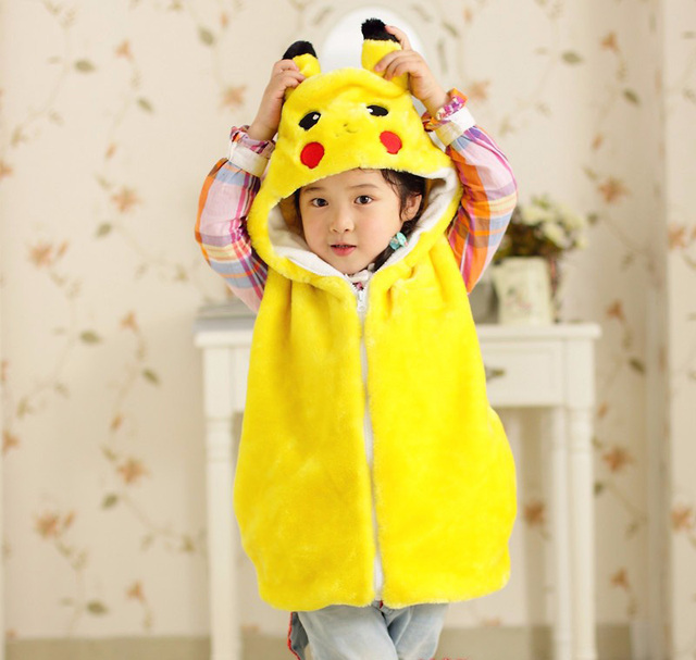 Fashion winter pokemon sleeveless matching mother daughter clothes family hoodies women