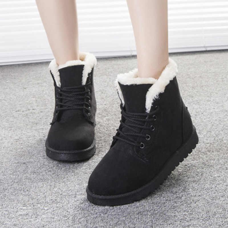 Kar botları kalın kürk kışlık botlar sıcak tutmak kadınlar yarım çizmeler moda bayan botları kadın dantel Up kadın ayakkabı süet 2019