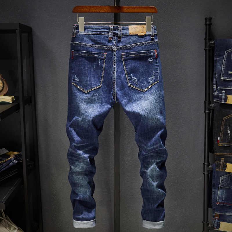 ブランド男性ダークカラーソフトデニムパンツストレッチストレートスリムフィット男性のジーンズ高品質ジーンズオムリッピング
