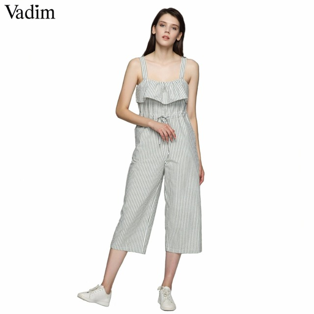 dc1c8195f2 Vadim women sweet bow ruffles striped jumpsuits pockets straps pleated  rompers ladies summer casual chic playsuits KA011