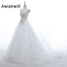 Vestido de Noiva Real Photo Sweetheart Neck Lace-up Back Beads Rhinestones Chapel Train A Line Bridal Gowns Cheap Wedding Dress
