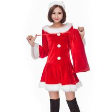 Adults Xmas Costume Sexy Red Velvet Long Sleeve Christmas Party Dress for  Women Santa 543ee1f66