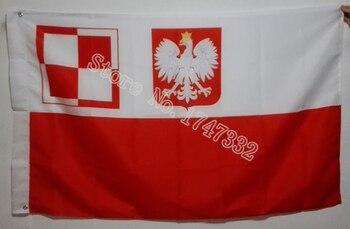 Bandera militar del aeropuerto de Polonia, superventas, buena Bandera de 3X5FT 150X90CM, agujeros metálicos de latón
