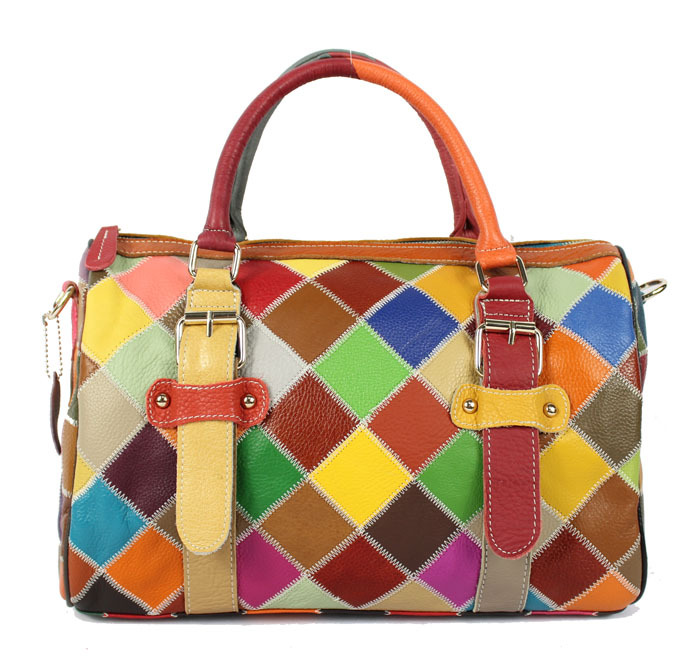 2017 new spring and summer color leather handbag checkered stitching