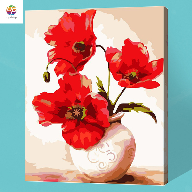 Red Flower DIY Digital Painting By Numbers Kits Coloring By Numbers ...