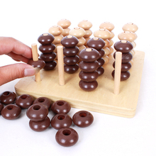 Montessori Sensorial Toy Kids Wooden Toys 3D Puzzle Chess Gadget Four In a Line Educational Toys Parents Child Game Kids Gifts