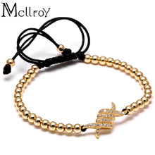 Mcllroy Summer Geometric Bracelet Men Charm Micro Pave CZ Copper Noodle Braiding Macrame Bracelet & 4MM Bead Men bracelet(China)