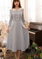 צווארון תחרה אלגנטית 2016 הגעה חדשה משלוח חינם לאסוף את מותן שלושה רבעי שרוול ארוך כותנה אישה שמלת שמיים הכחול