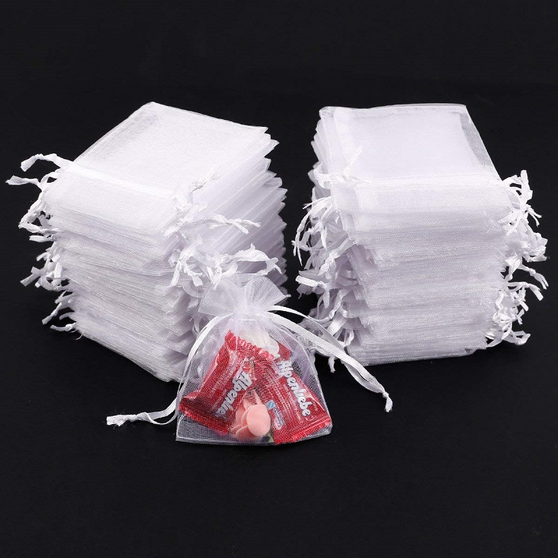 50pcs White Organza Bags 7x9 9x12 11x16 13x18CM Jewelry Party Wedding Drawable Bags Gift Pouches Candy Bag For Communion Deco 55