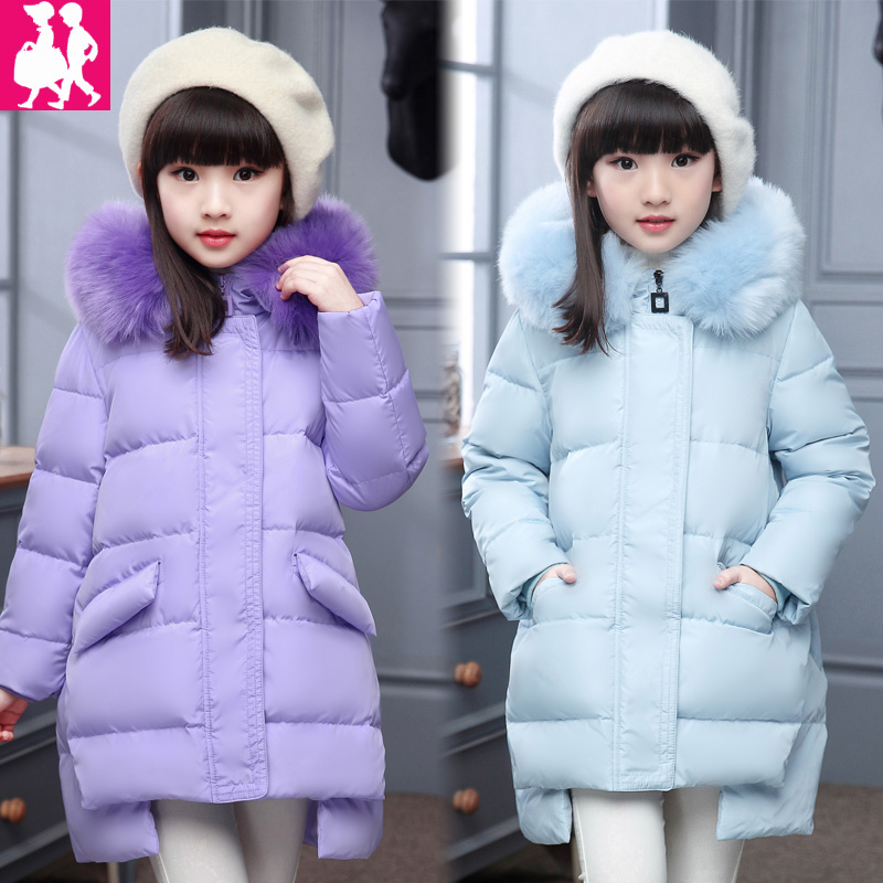 Girls Winter Parka Coats 2018 New Kid Long Thick Fur Collar Hooded Down Jackets Children Outerwear for Cold Winter Girls Clothes nike alliance parka 550 hooded