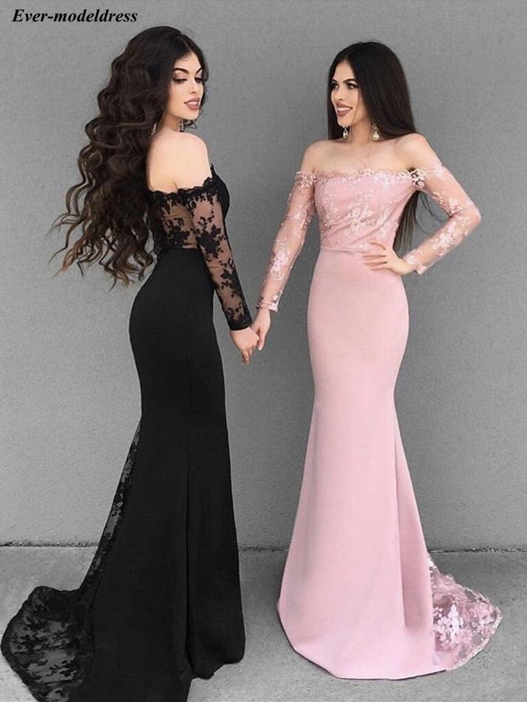 Lace   Bridesmaid     Dresses   Long 2019 Off Shoulder Long Sleeves Button Back Wedding Party Formal Junior Women Ladies   Dresses