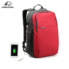 Kingsons Brand External USB Charge Travel Backpack Anti-theft Computer Bag 15.6 inch Solid Men Casual Daypacks