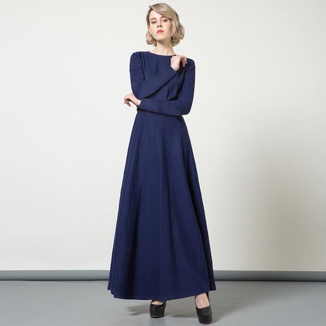 Vintage Women Winter Maxi Long Wool Dress Navy Slim Fit Long Sleeve Muslim  Maxi Dresses Plus Size Clothing SS6227 6400685ce5