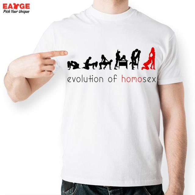 New Men Sexy Design T shirt Fashion White Print Short Sleeve O-neck Sex Love Evolution Boy T-shirt Funny Homo Summer T shirts