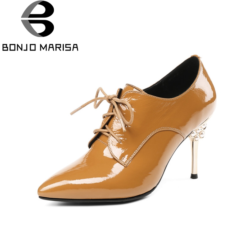 BONJOMARISA Brand New Large Size 33-43 Cow Patent Leather lace-up Woman Shoes Pointed Toe Fashion Party High Heels Ladies Pumps new 2017 spring summer women shoes pointed toe high quality brand fashion womens flats ladies plus size 41 sweet flock t179
