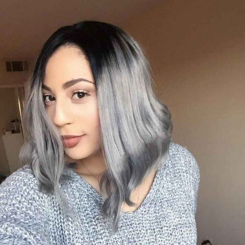 ФОТО Cheap Bob Front Lace Wigs Synthetic Hair Natural Straight Grey Lace Front Wigs For Black Women Two Tone 10-16 inches In Stock