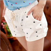 Free Shipping 2016 New Summer Shorts With Cats Pattern High Waist Elastic Cotton Short Fresh Floral