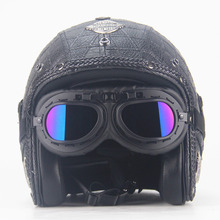 Adult Open Face Half Leather Helmet Harley Moto Motorcycle vintage  Motorbike Vespa motocross capacete Chopper Bike Black