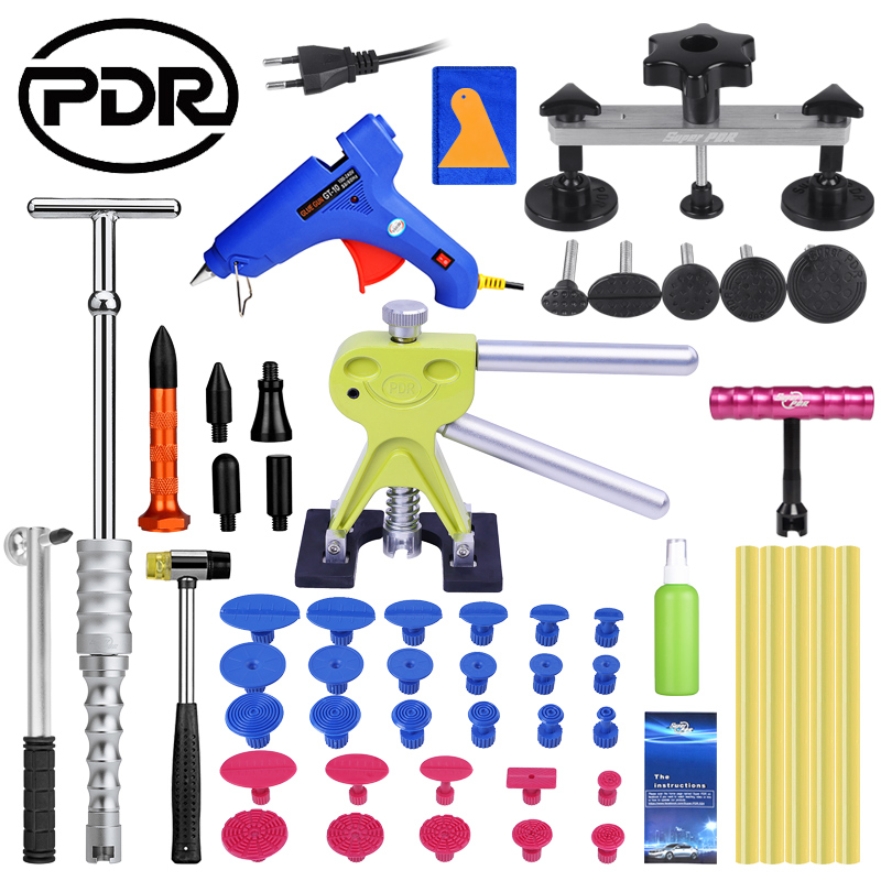 PDR Car Dent Removal Puller Kit Hand Sets Lifter Kit 5pcs Glue Sticker Glue Tabs 5 Heads Tap Down Pen Hand Tool Set