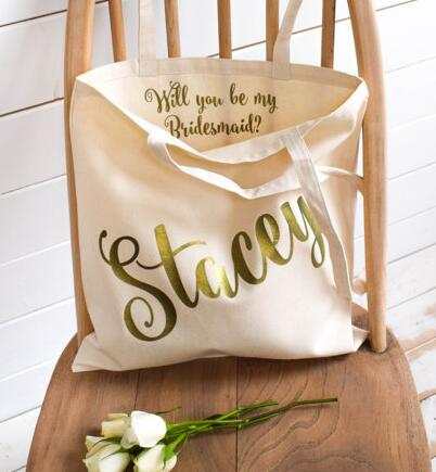 personalized names will you be my bride wedding tote bags hen party