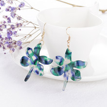 New Design Acrylic Big Flower Statement Dangle Earrings for Women Bohemian Charm Plant Petal Pendientes ZA Earrings Jewelry Gift(China)