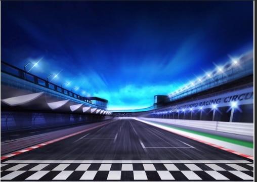 7x5ft Blue Clouds Sky Stadium Car Racing Race Track Lane