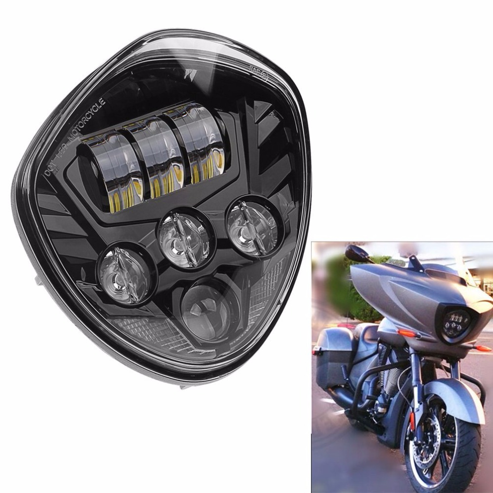 Black Motorcycle LED Headlight Kit for Victory Victory Cross Country Road Cruiser 2007-2016 Cruisers with Bullet Style Headlight