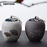 Black Zen Japanese Style Coarse Pottery Ginkgo leaves Tea Cans Canister Tea Set Jar Candy Caddies Puer Tea Storage Home Ornament