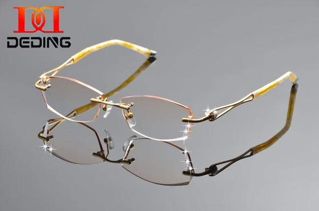 Deding 2016 alta qualidade mulheres marca sem aro de titânio strass ouro óculos de leitura quadro de miopia DD1252