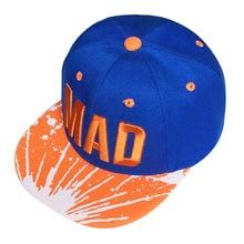 2017 Bordado carta Mad gorra de béisbol plana ocasional SnapBack sombreros  para Niños Niñas estilo hip-hop sombrero casquette go. bcff638a4b2