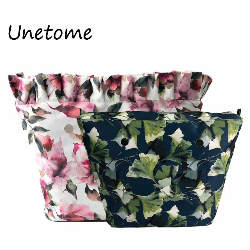 Floral Border Lining Colorful Print  Inner Zipper Pocket For Classic Mini Obag Insert With Inner Waterproof Coating For O Bag