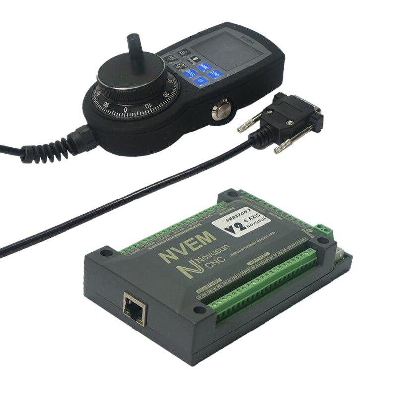 Ethernet mach3 cartão 4 eixo manual de pulso volante para cnc máquina roteador