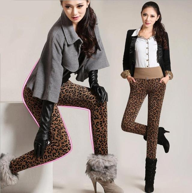 2016 Special Offer Rushed Mid Knitted European And American Style Leopard Leggings Thick Winter Warm Plus velvet Pants Women