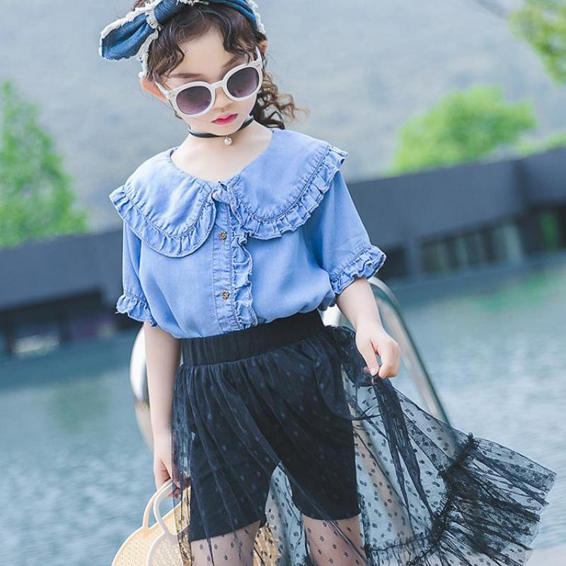 2019 New Fashion Girls Outfits Summer Kids Clothing Set Denim Tops + Mesh Skirts Child Suits Teenagers Girls Clothes 10 12 Years2019 New Fashion Girls Outfits Summer Kids Clothing Set Denim Tops + Mesh Skirts Child Suits Teenagers Girls Clothes 10 12 Years
