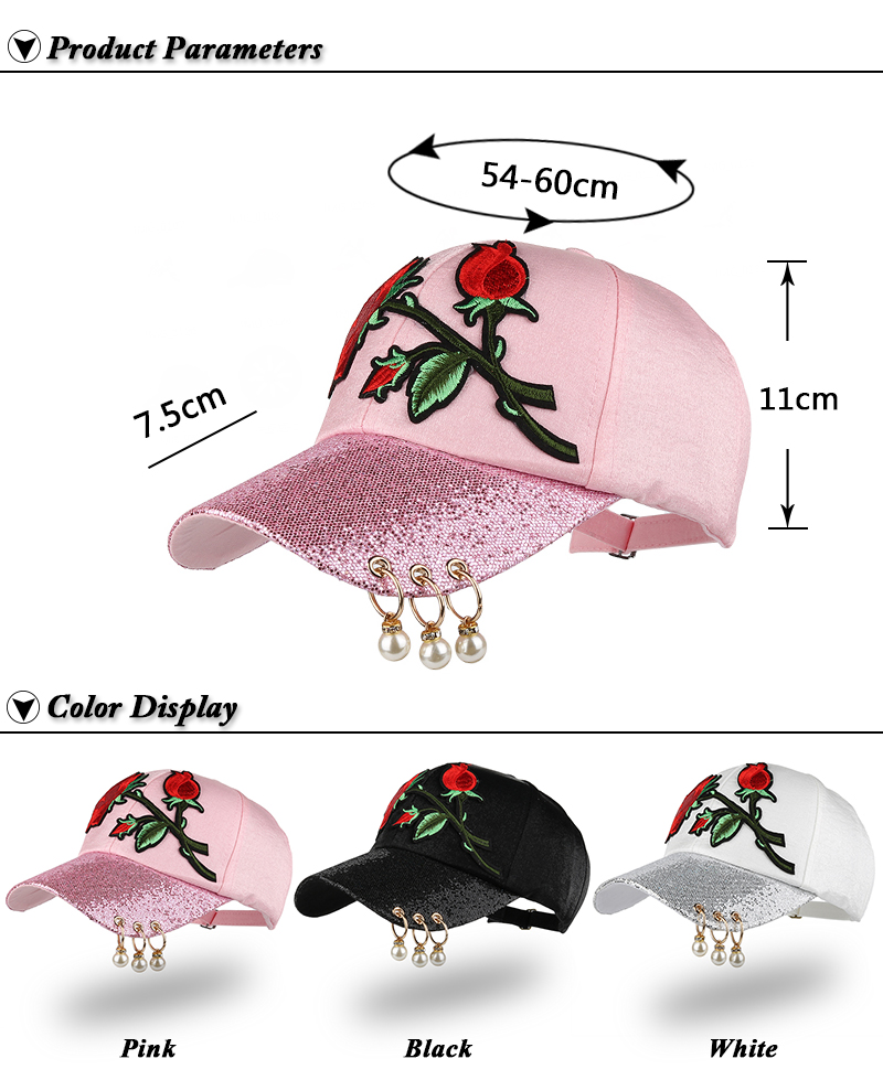 Embroidered Rose Baseball Cap - Product Parameters and Available Colors